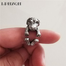 LPHZQH fashion Vintage Adjustable punk ring retro Poodle dog Ring For Women Men gift party Jewellery steampunk antique silver