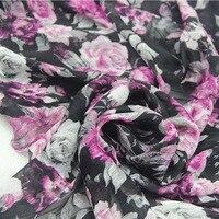 Black With Rose Red Big Rose Chiffon Thin Fabric Textile Cloth For DIY Summer Elegant Beach
