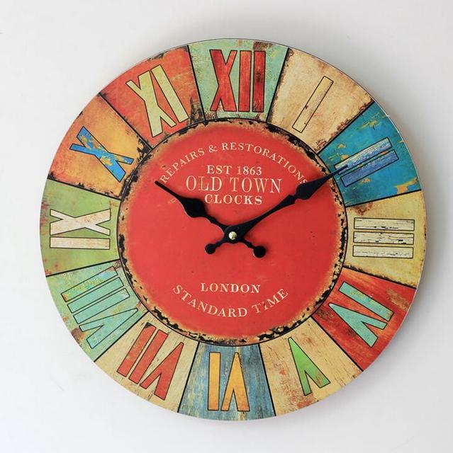 Vintage Colored Drawing Roman Numerals Arts Clock Creative Home Deco Wood Wall Clocks