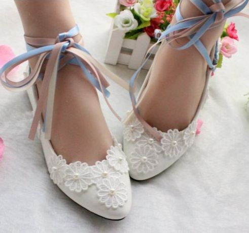 Satin riband flat heel wedding shoes woman sweet handmade lace flowers  pearls bridal flats shoes lady bridesmaid party flats e45e893984a0