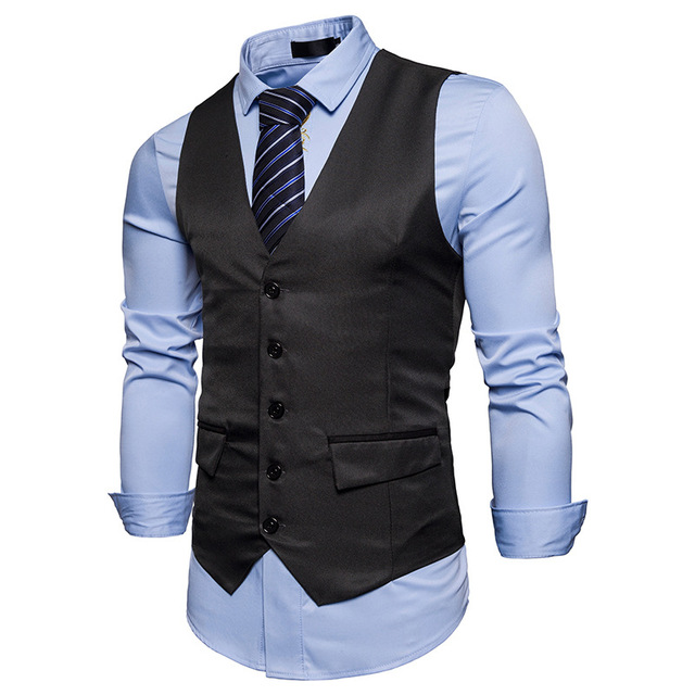 783b67364e1b New Men Vest Black Gray Blazer Collar Sleeveless Suit Fashion Vests Classic  Dress Slim Fit Vests Mens Formal Waistcoat z30