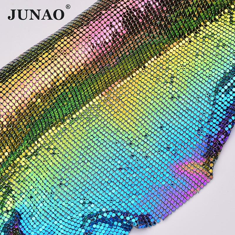 JUNAO 45 * 150cmカラフルなアルミメッシュメタルトリムラインストーンファブリックシートクリスタルアップリケDIYケンダルドレスバッグ作りpartes delケーブル同軸
