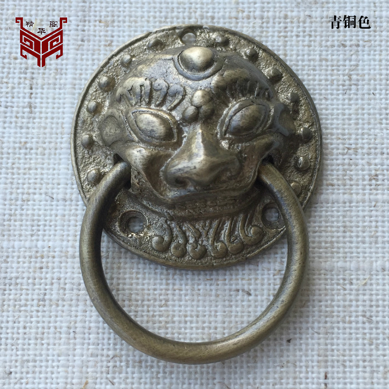Chinese antique furniture of Ming and Qing Dynasties copper fittings handle / small lion head / decorative koudo copper ring sma chinese antique copper fittings knocker copper handle big lion tiger beast head copper shop first hand ring gate
