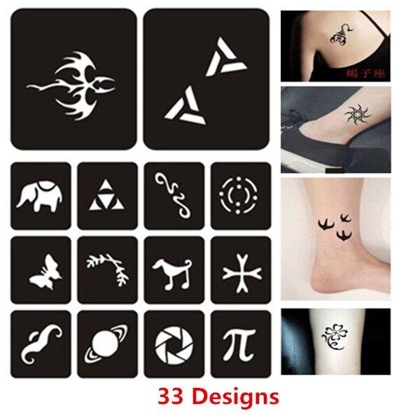 33 Designsset Kleine Henna Tattoos Schablonen Frau Weibliche Kinder