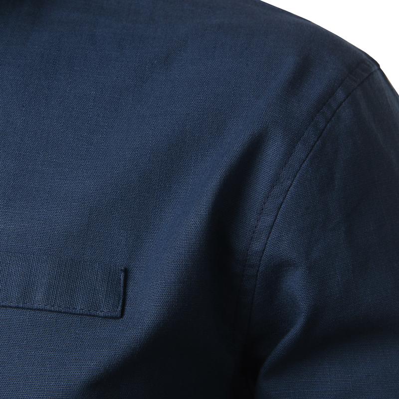 Tunique col Mao bleu marine, manches longues, avec poche, gros plan