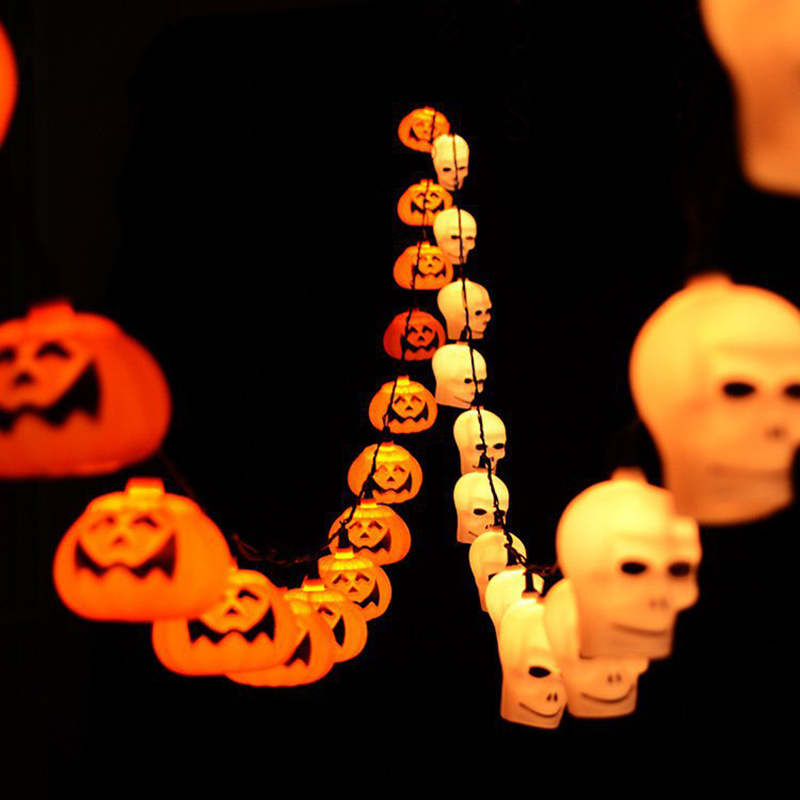 5M 10M LED Halloween Pumpkin String Light Orange Pumpkin Lights Halloween Holiday Decoration Lanterns Light AC110V 220V