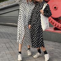Long Section Polka Dot Split Hem Women Blouses Autumn Turn Down Collar England Style Full Sleeves
