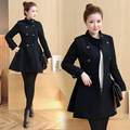 Winter Women Skirted Coat Black Double Breasted Buttons Wool Coat Lady Long Quality Cloth Coat Overcoat Woolen Coat Korean Style