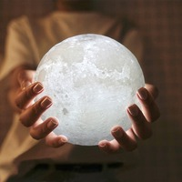 8 20CM Diameter 3D Print Moon Lamp USB LED Night Light Touch Switch Color Changing White