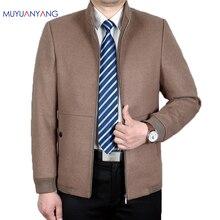مو يوان يانغ الذكور سترة صوفية غير رسمية الشتاء الرجال السترات الصوف معاطف الخريف والشتاء منتصف العمر الصوف و يمزج معطف معطف