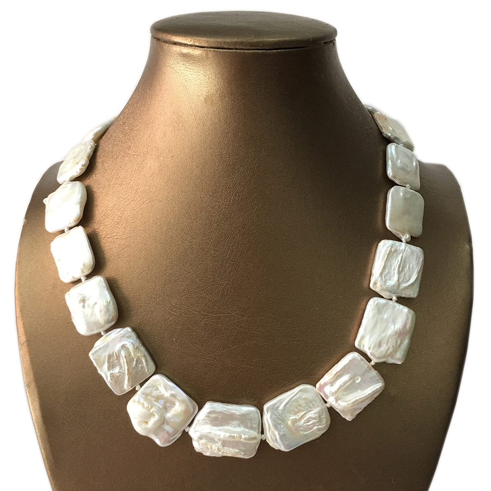 Collar de perlas barrocas de agua dulce 100% buena calidad collar de perlas rectangulares-in Collares de cadena from Joyería y accesorios    1