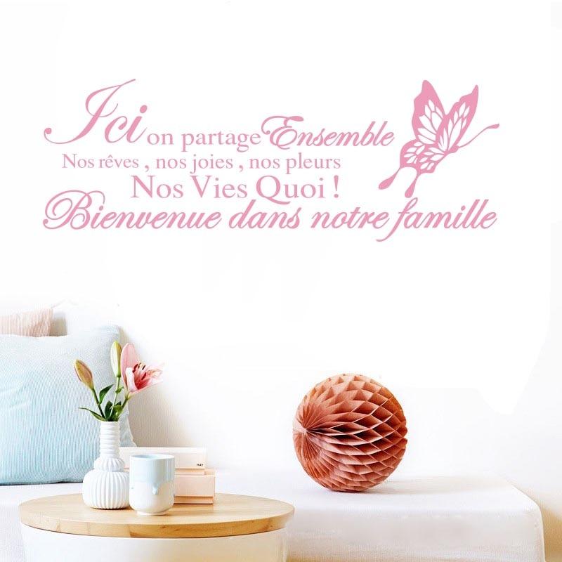 Velké samolepky muraux Citace de la famille nálepky na stěnu Vinyl nástěnné samolepky odnímatelné umění tapety na obývací pokoj domácí dekorace