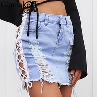 Glamaker Washed Denim Side Lace Up Women Skirt Hollow Out Fashion Pencil Skirt Short Streetwear Casual