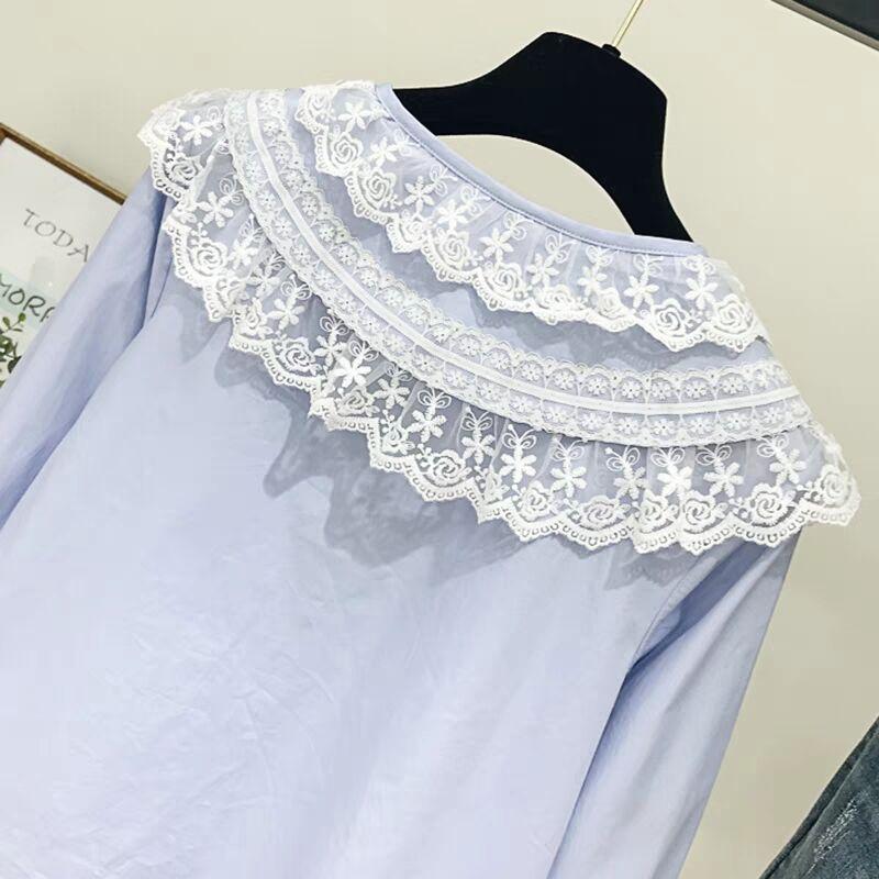 Larga Blusas Camisa 50 Las Blue Mujer Moda Tops Para 2019 blanco Encaje Casual Mujeres Blusa Algodón La Primavera Y De Blanca Manga 2155 1qRvwYqZ