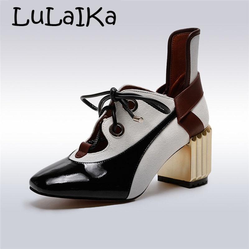Nueva Cuadrado Pie 7 De Zapatos Tacones 2018 Moda Las Genuino Elegante Bombas Alta Cm Black Mujer Mujeres Dedo Plaza Del Cuero dqE8BEAU4