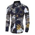 2016 Fashion Summer Men Dress Shirt Print Long Sleeve Turn-down Collar Male Slim Style Brand Clothing homme M-2XL 5116