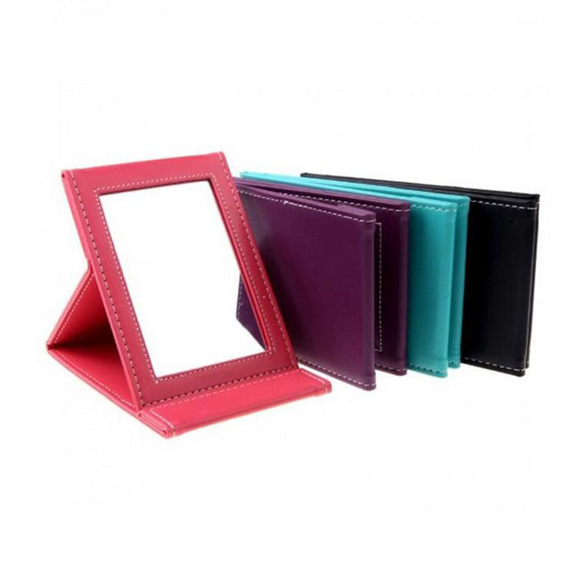 Portable Makeup Mirror Travel Leather Desktop Strong Foldable Table Compact Mirrors Cosmetic Vanity Stand Mirror Gift ZA2074