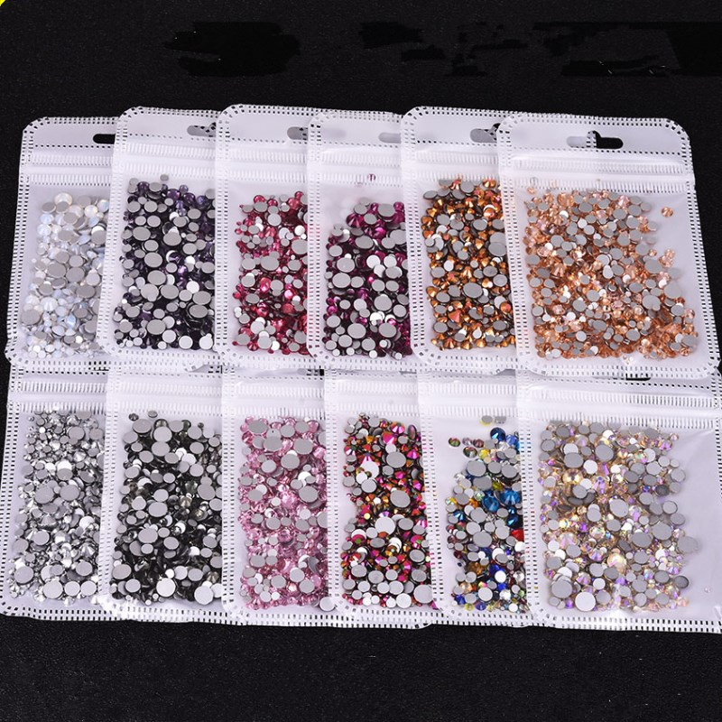 f3ffaa4a6c Mix Sizes High Quality 31 Color Crystal Glass Non Hotfix Flatback Nail  Rhinestones For DIY Nails 3D Nail Art Decorations Gems
