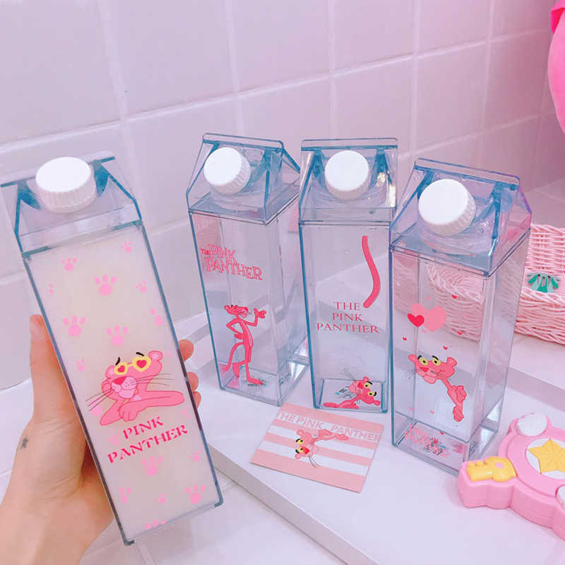 Water Plastic Storage Bottles Milk Box Shape Transparent Cute Cartoon Pink Panther Storage Beer Drink Bottle Organizer