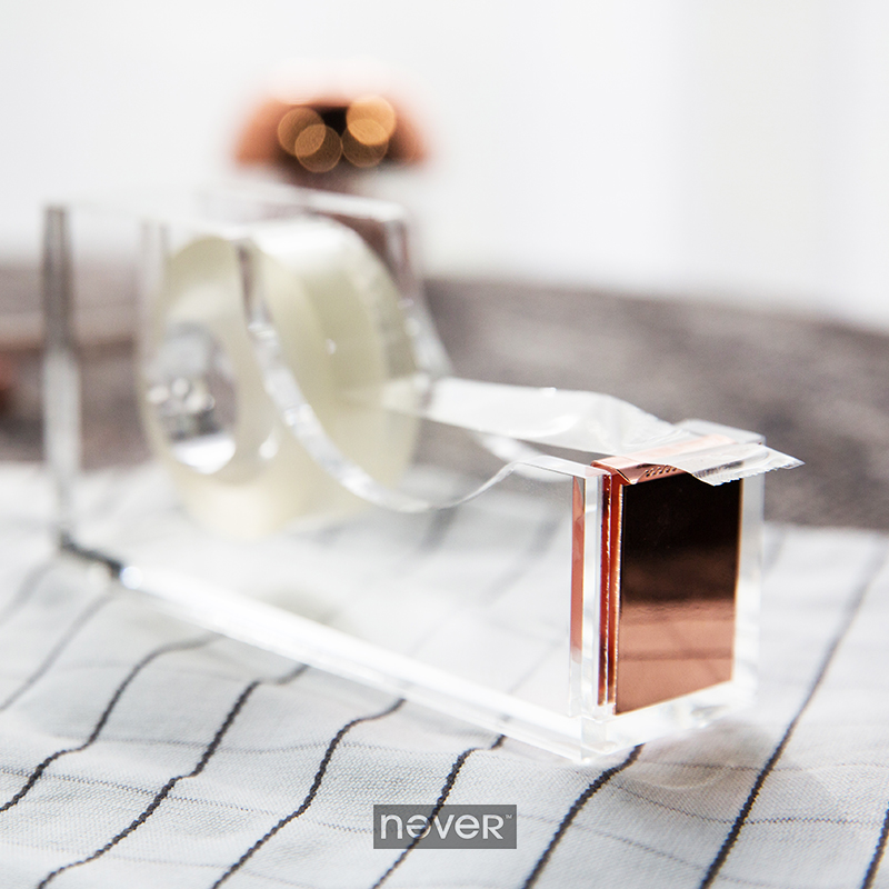 Never Rose Gold Tape Dispenser Adhesive Dispenser Tape Cutter Holder Washi Tape And Dispenser Office Supplies Gift Stationery rose gold desktop tape dispenser wire metal tape holder for 1 inch core brighten up your office desk top accessories supplies