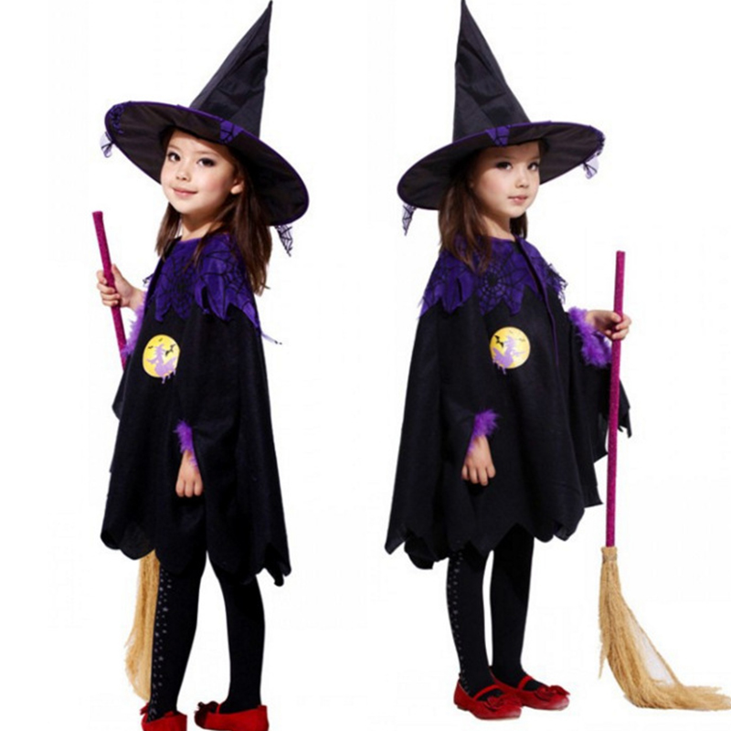 Baby Girl Witch Toddler Girl Halloween Fancy Dress Party Costume Outfit Clothes + HAT + Magic Wand Bebe Kids Dresses Princess girls dresses trolls poppy cosplay costume dress for girl poppy dress streetwear halloween clothes kids fancy dresses trolls wig