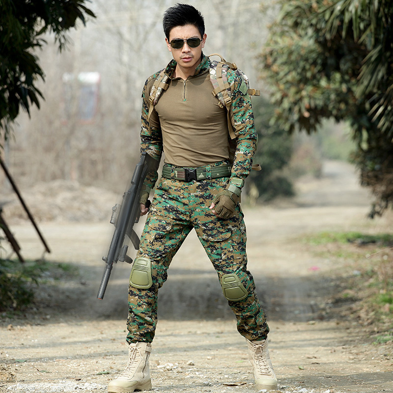 Military Suits Tactical T Shirt + Pant Men Hunter Combat Camouflage Clothes with Hats Belts Knee Pad Special Force CS Fight Sets - 4
