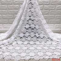African lace fabric 2019 White Embroidered Mesh French cord Lace High Quality guipure lace fabric For nigeria party dress H2134