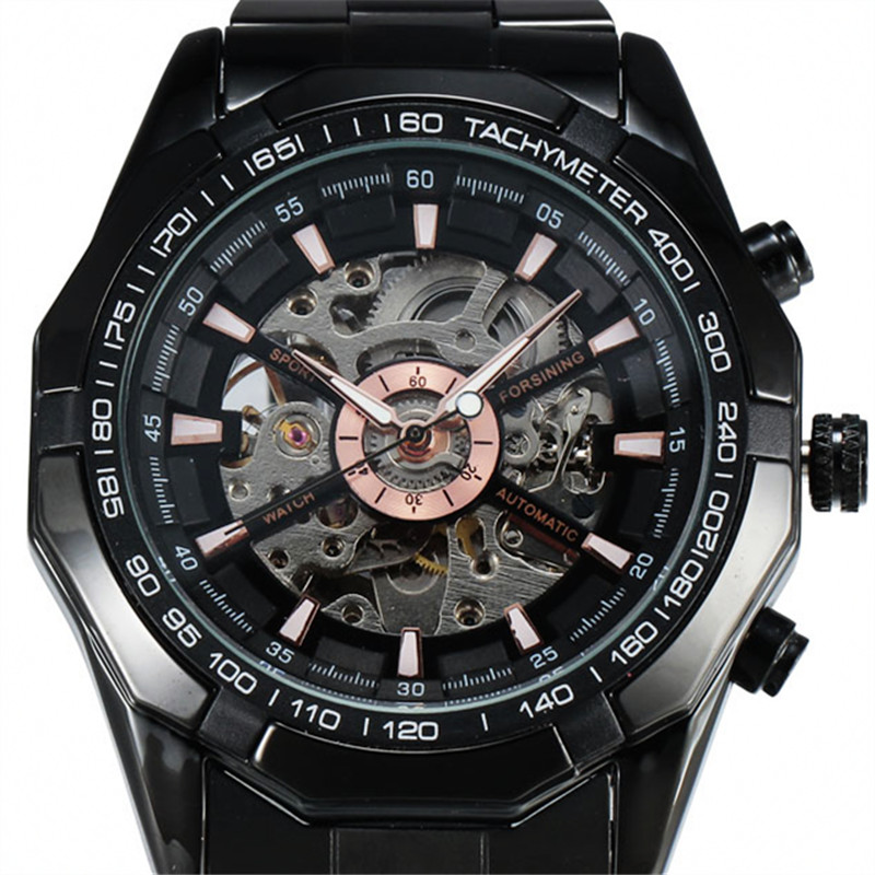 Top Brand FORSINING Antique Automatic Watch Men Luxury Mechanical Watches Hollow Dial Black Steel Male Gift Skeleton Wristwatch ks black skeleton gun tone roman hollow mechanical pocket watch men vintage hand wind clock fobs watches long chain gift ksp069