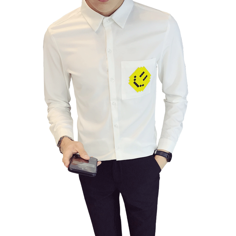 Plus Size White Black Shirt Men 2019 Korean Simple Smiley Face Patch Work Tops Slim Fit Long Sleeve Solid Dress Shirt Male S-5XL