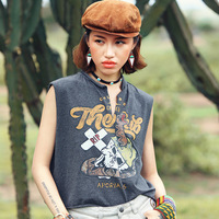 Women Summer Streetwear Casual Loose Personality Print V Neck SLeeveless Cotton Short Tank Tops White/Grey