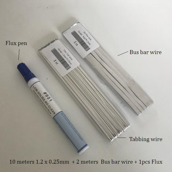ALLMEJORES Solar Cell Tabbing Wire 10meters 1.2mm *0.25mm +2m Bus Barwire +Flux Pen For DIY Solar Panel PV Cooper Stirp