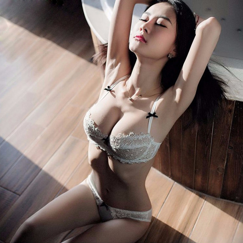 Ultrathin underwear lace transparent sexy bra set women plus size Half Cup bra and panty sets C cup brassiere white lingerie set 1