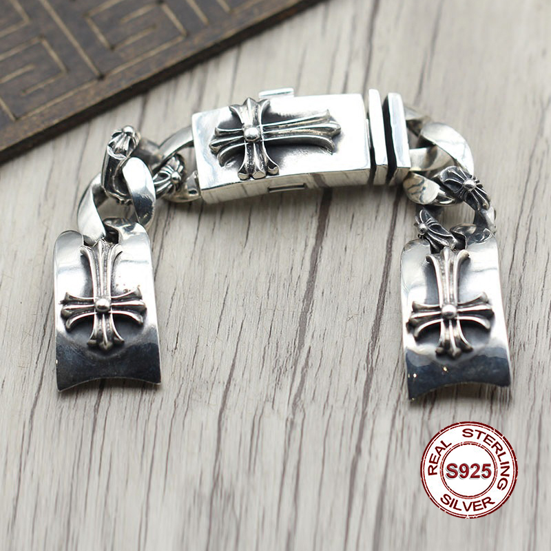 S925 серебро часы Сеть личности стиле ретро панк Крестоносец тратить высокомерие грубый браслет драгоценности Отправить подарок для любител...