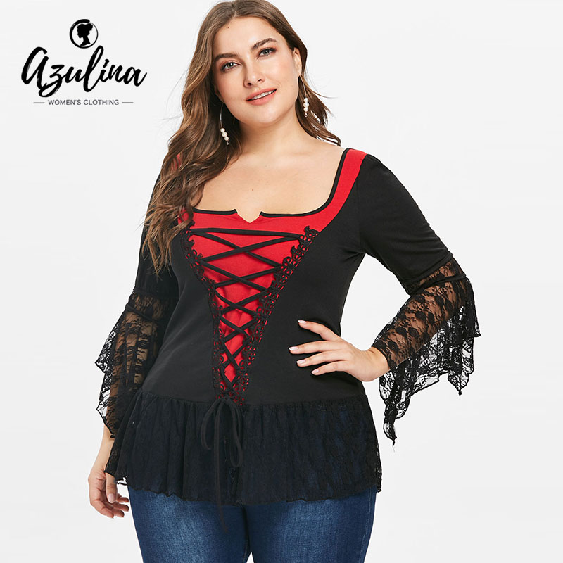 cef317ed39a585 AZULINA Plus Size U Neck Lace Panel Color Block T-Shirt Female Casual T  Shirt