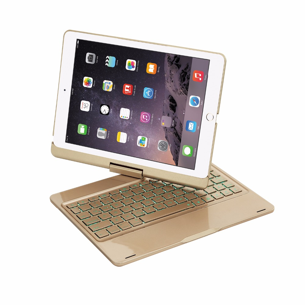 Wireless Bluetooth Keyboard Case Cover for iPad 9.7 New 2017 Aluminum Alloy 7 Colors Backlit Light Keyboard for iPad Pro 9.7 aluminum keyboard cover case with 7 colors backlight backlit wireless bluetooth keyboard