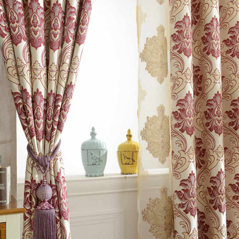 Manufacturer's Direct Sale Thickened European Jacquard Curtain Fabric Shade Curtains for  Living Room Bedroom