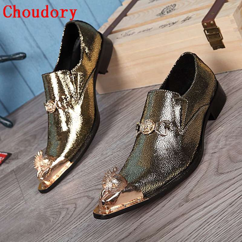 Choudory Luxury Gold Loafers Men Pointed Toe Slip Prom Dress Shoes Mens Spiked Wedding Shoes choudory new winter men ankle italian shoes men leather shoes pointed toe mens black dress shoes sequined toe spiked loafers men