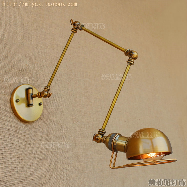 Lights & Lighting Lamps & Shades Modern Vintage Loft Adjustable Industrial Metal Wall Light Retro Swing Arm Brass Wall Lamp Country Style Sconce Lamp Fixtures Can Be Repeatedly Remolded.