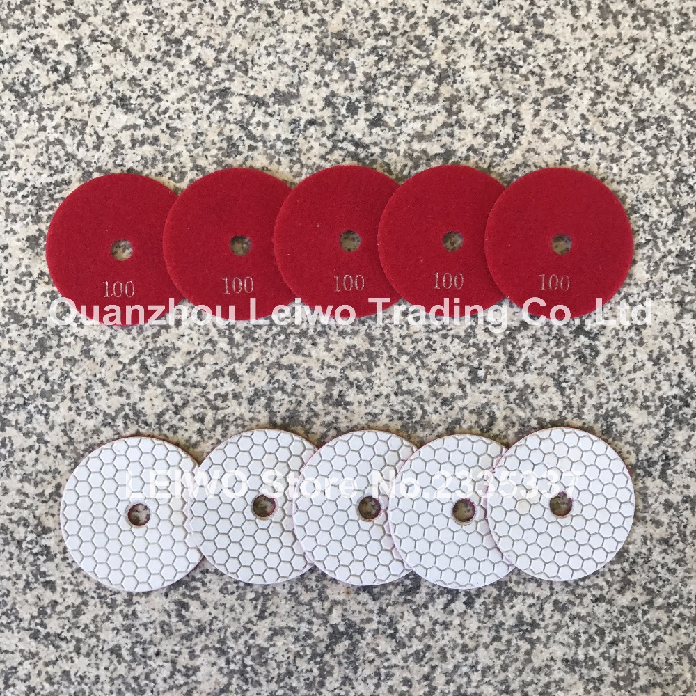 Diamond Polishing Pads 4 inch Honeycomb Dry Polishing Cloth Granite Tools Circle Polishing Wheel Grit 100