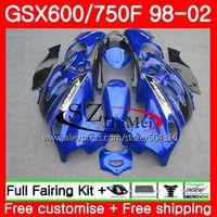 Тела для SUZUKI KATANA GSX600F GSXF 600 750 28SH. 8 GSXF600 98 99 00 01 02 GSXF750 цвет синий, черный; Большие размеры 34–43 1998 1999 2000 2001 2002 обтекатели