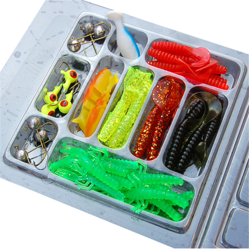 Fishing Lure Set 35Pcs Soft Worm Carp Baits 10 Lead Head Jig Hooks Simulation Suite Tackle Fishing Lure Kit