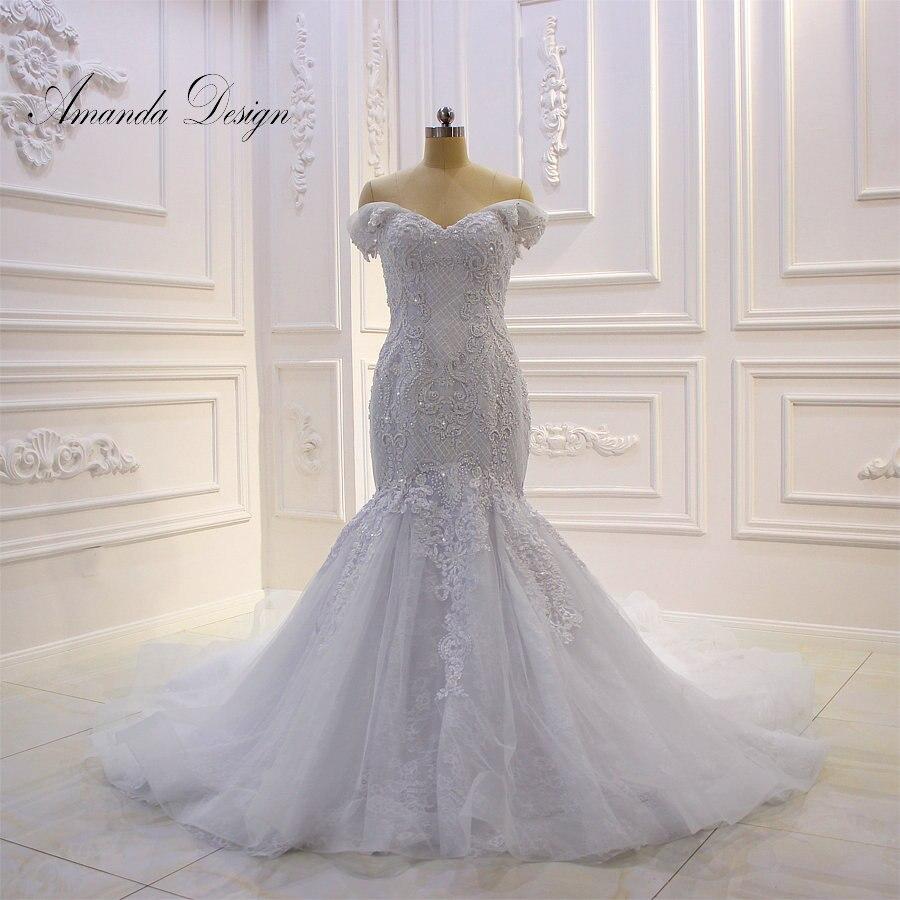 Amanda Design vestido de noiva Off Shoulder Lace Appliqued Crystal Mermaid Wedding Dress