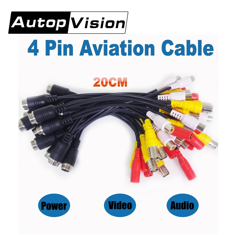 Free Shipping 20CM 4 PIN Aviation Cable To BNC Audio Video 12v Output Adaptor Cable For CCTV Camera Cable 0.656FT