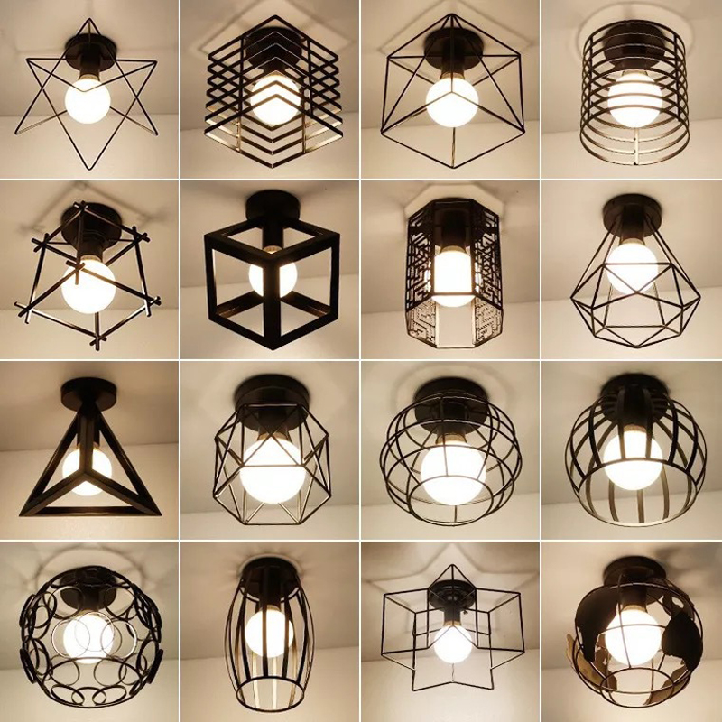 Vintage E27 Ceiling Lights Iron Black Ceiling Lamp Retro Cage Light Kitchen Fixtures Luminaria Lamparas De Techo Home Lighting