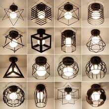 Vintage E27 Plafond Lichten Ijzer Zwart Plafondlamp Retro Kooi Licht Keuken Armaturen Luminaria Lamparas De Techo Home Verlichting