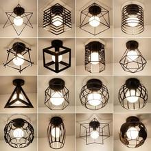 Vintage E27โคมไฟเพดานเหล็กสีดำโคมไฟเพดานRetro Cageห้องครัวโคมไฟLuminaria Lamparas De Techo Home Lighting