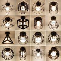 Vintage E27 Ceiling Lights Iron Black Ceiling Lamp Retro Cage Light Kitchen Fixtures Luminaria Lamparas De Techo Home Lighting