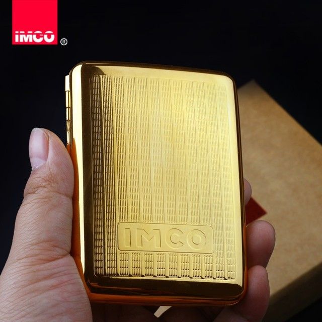IMCO Luxury Cigarette Case Cigar Box Genuine Pure Copper Tobacco Holder Pocket Storage Container Smoking Cigarette Accessories