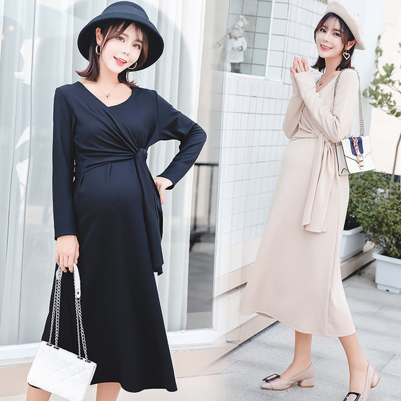Sexy Maternity Evening Long Dress for Party Autumn Fashion V Neck Slim Ties Waist Maternity Clothes for Pregnant Women PregnancySexy Maternity Evening Long Dress for Party Autumn Fashion V Neck Slim Ties Waist Maternity Clothes for Pregnant Women Pregnancy