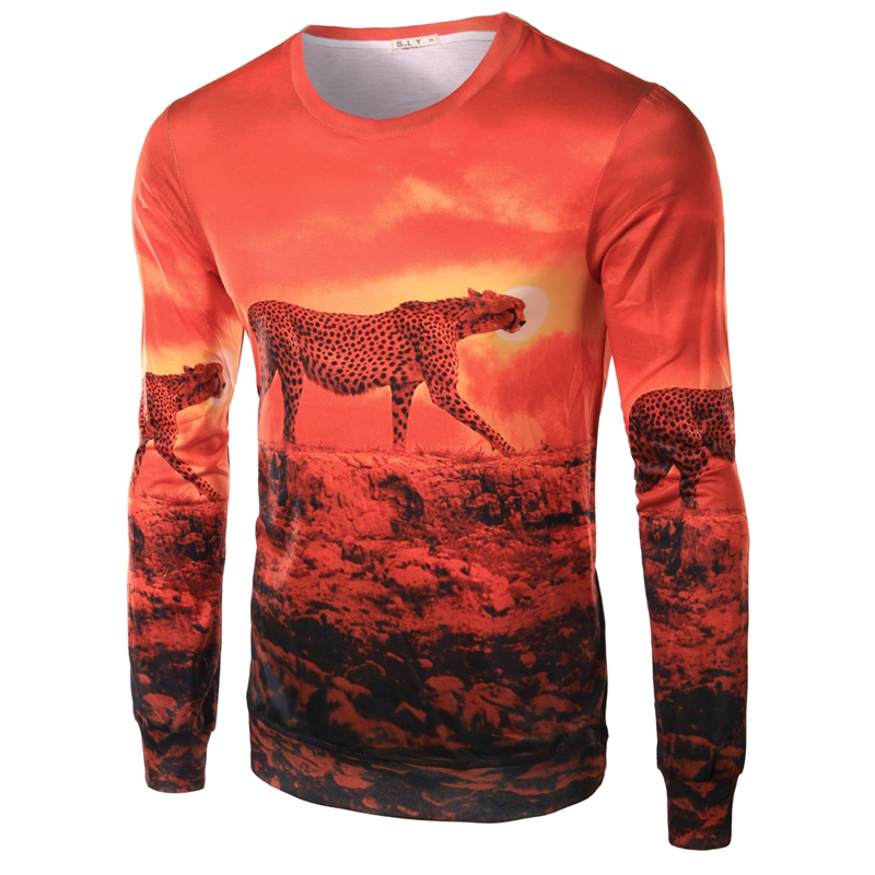 Shirt Fashion Men Leopard Print Mens Tees Cotton Long